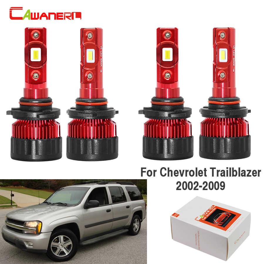 Cawanerl 4 Pieces Car Headlight LED Light High Beam Low Beam 60W 9000LM 6000K White 12V For Chevrolet Trailblazer 2002-2009