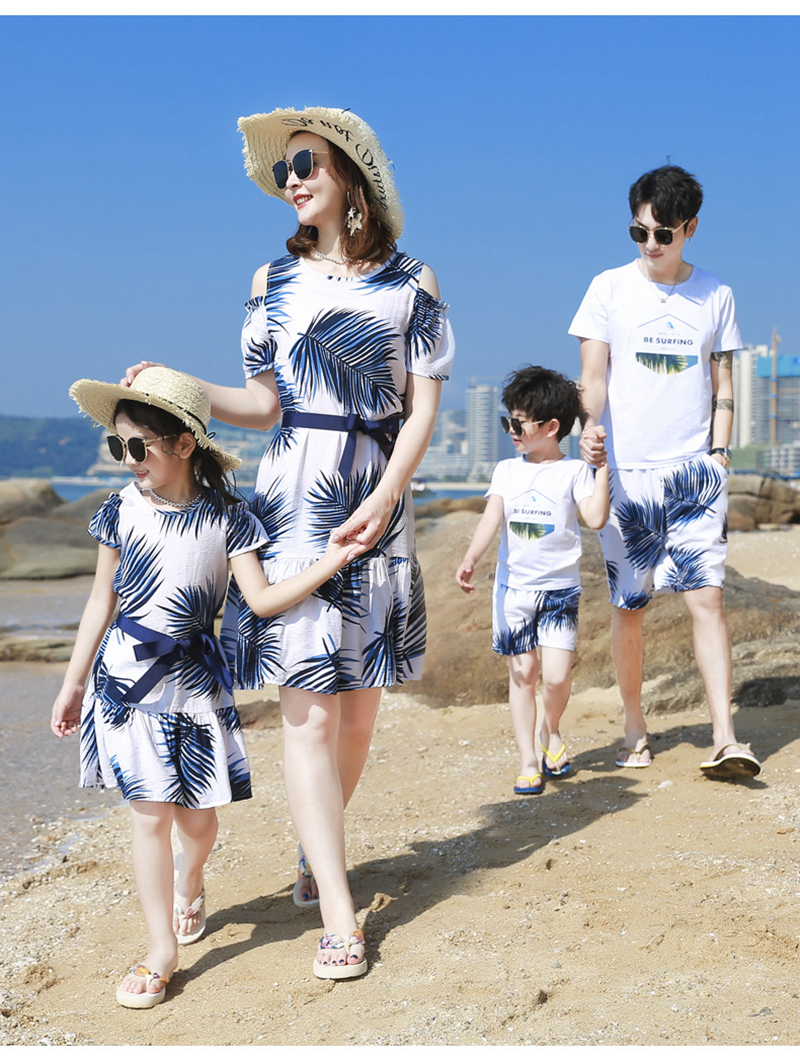 H2b05f5e385ac44a089e528be723e5cb3f - Summer Family Matching Outfits Mother Daughter Beach Vocation Dresses Summer Dad Son T-shirt+Shorts Couples Matching Clothing