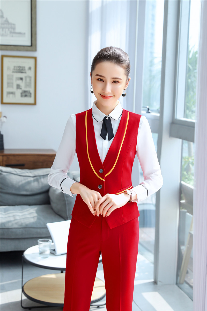 Novelty Red Uniform Styles Pantsuits With 2 Piece Set Pants And Vest & Waistcoat For Office Ladies Professional Work Blazers
