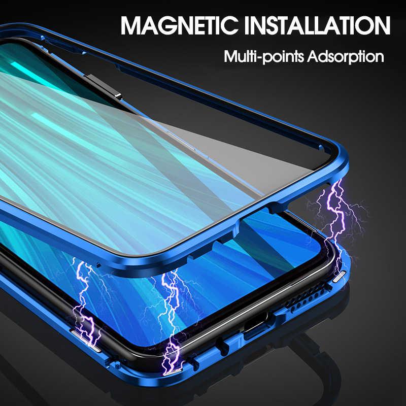 360 magnetyczna adsorpcja metalowa obudowa do Xiaomi Redmi Note 9 8 7 K20 Pro 8T 9A 8A Mi uwaga 10 Lite Pro F1 dwustronna szklana osłona