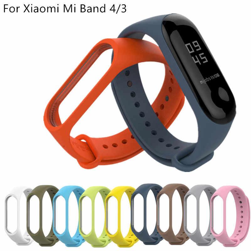 עבור שיאו mi mi Band 4 3 סיליקון 20mm החלפת צמיד צמיד רצועת השעון עבור Xio mi mi Band3 mi להקת 4 3 Band4 רצועת יד