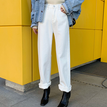 Autumn High Waisted Straight Jeans Woman Loose Casual Wide Leg Pants Female White Denim Hong Kong Style Trousers S-XL