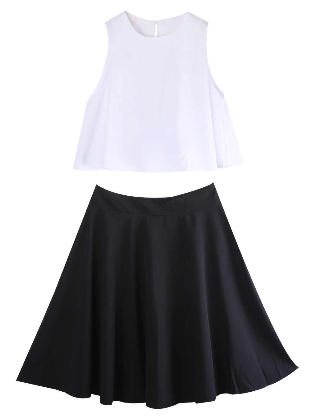 Dos piezas Sexy Vintage Oficina señoras mujeres blanco cosecha superior y Negro Midi falda trajes ropa conjunto Fiesta Club ropa