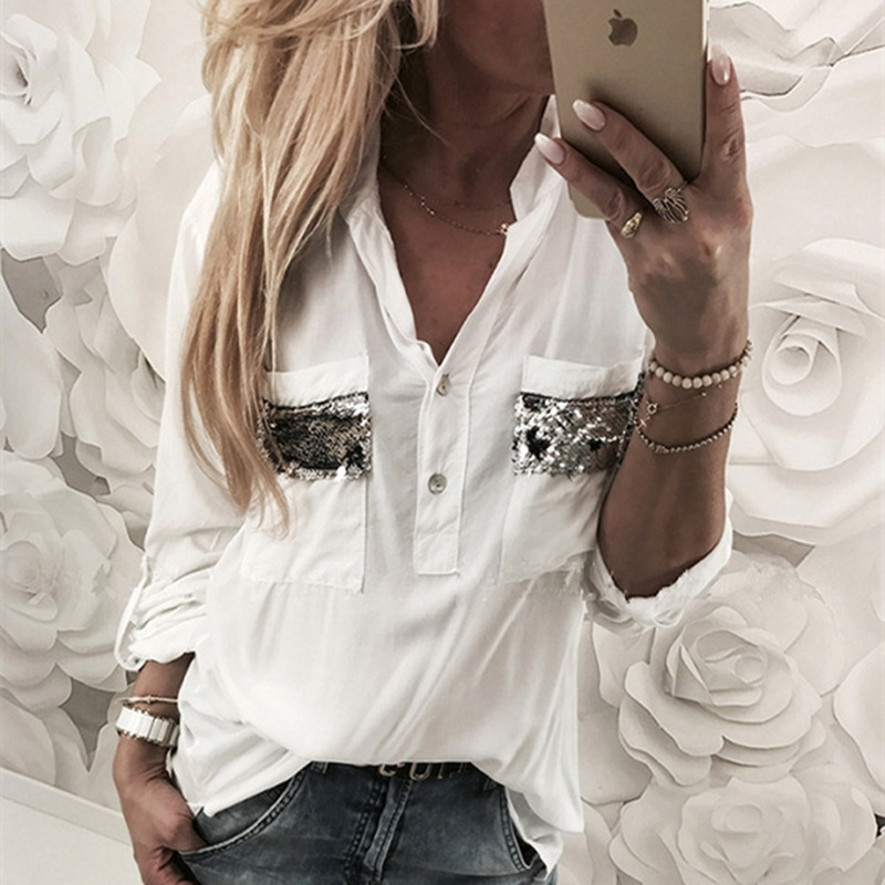 Casual Sexy V-Neck Blouse Long Sleeve Shirts Loose Blouse Fashion Lady White Tops Plus Size 2019 Women Sequin Pocket Shirt