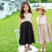 2020 New Arrive Kids Teenager Girls Summer Dress Color Block Cotton Casual Long Big Girl Sleeveless Holiday Baby Dress Patchwork casual striped color block dress