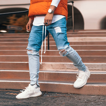 Men Hip Hop Ripped Distressed Jeans Hombre Gradient Color Denim Pants Slim Fit Stretchy Jean Pencil Trousers Zipper Knee Holes knee holes frayed zipper fly narrow feet ripped jeans