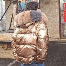 2019 invierno chaqueta de plumón de pato de mujer Natural o piel de zorro artificial abrigo corto suelto Parka gruesa cálida # ZM806