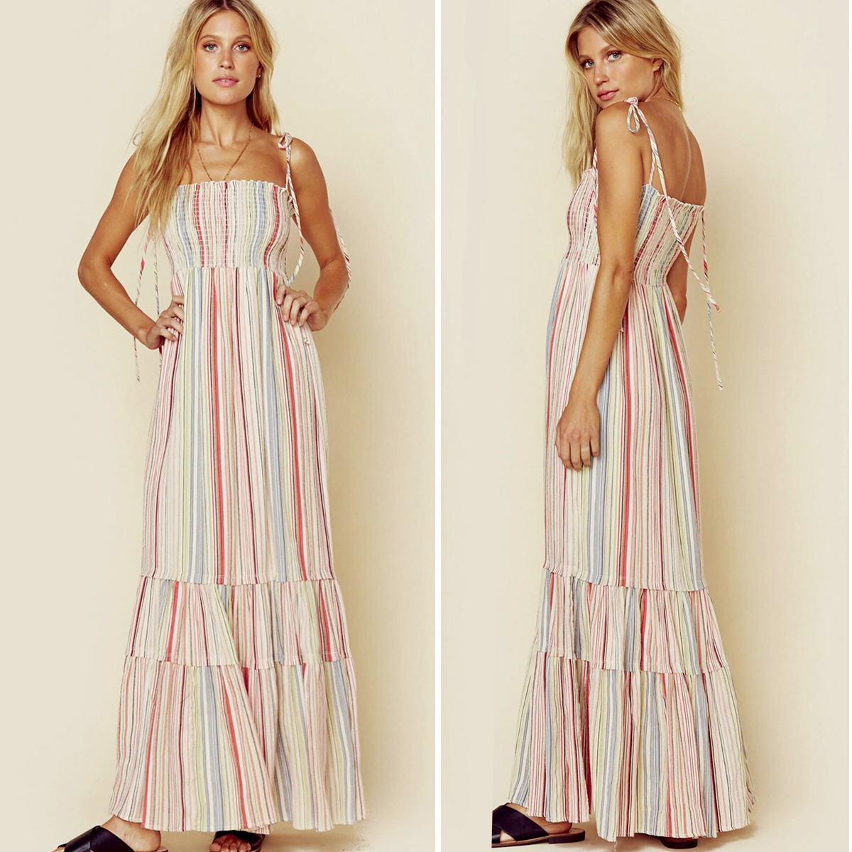 Women Sexy Bow Sling Striped Evening Long Dress 2020 Spring Summer New French Romantic Club Party Dress Vestito Lungo