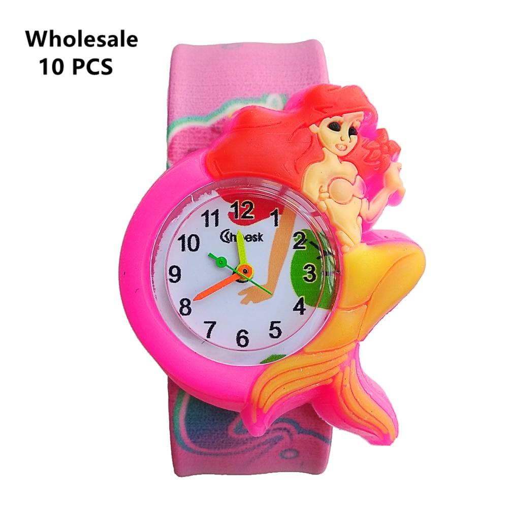 (Wholesale 10 Pcs) Cute Mermaid Watch For Children Girls Boys Gift Kids Watches Rubber Slap Child Quartz Wrist Watch Baby Clock