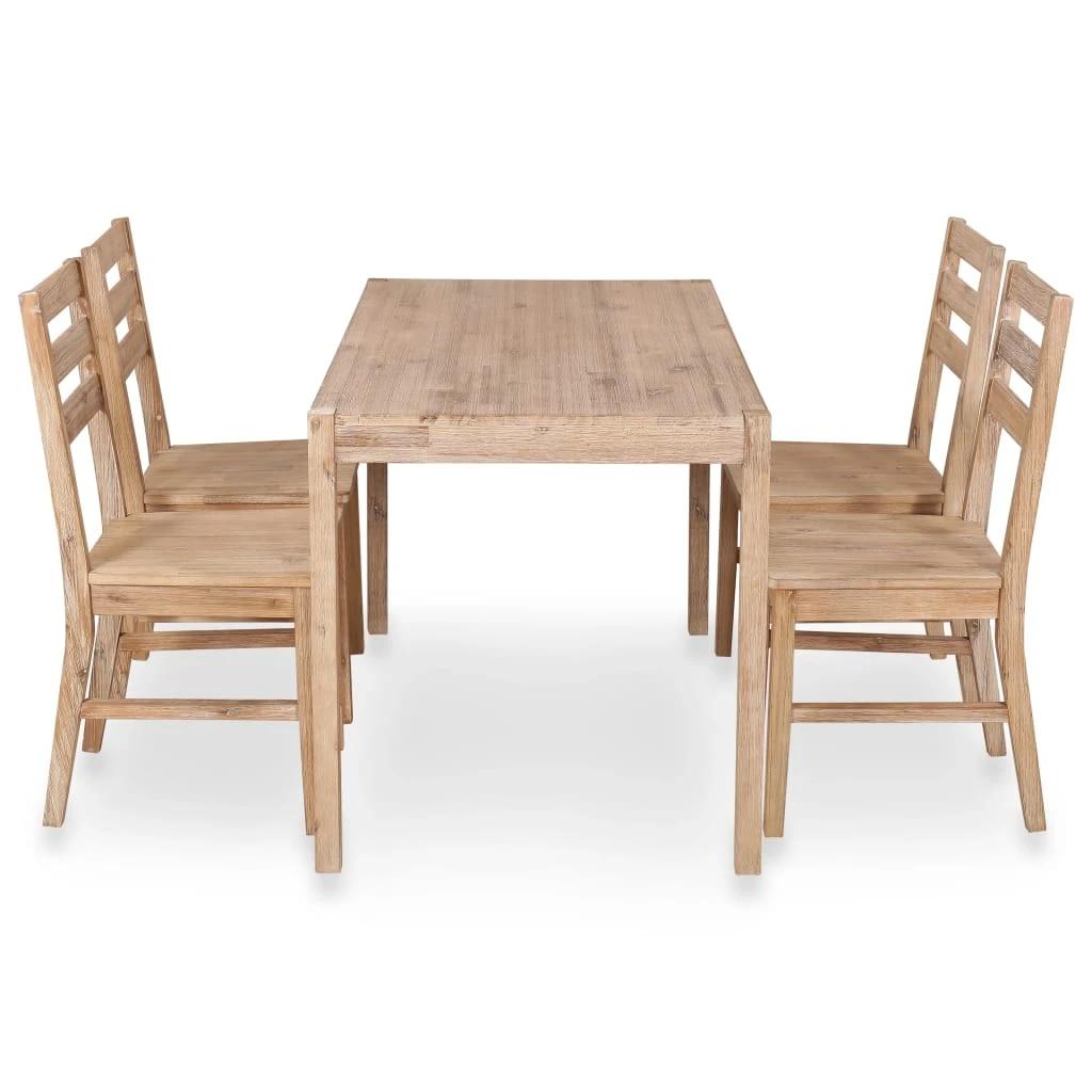 9 Piece Dining Set Solid Acacia Wood Dining Table Dinning Table Set Kitchen  Table Dining Room Furniture Garden Yard Use