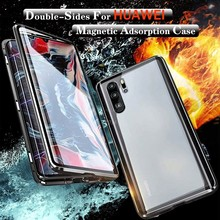 Magnetic Metal Double Side Glass Phone Case For Huawei Honor Mate 30 20 P40 P30 Lite P20 Pro 8X 9X P Smart Z Y9 Prime 2019 Cover