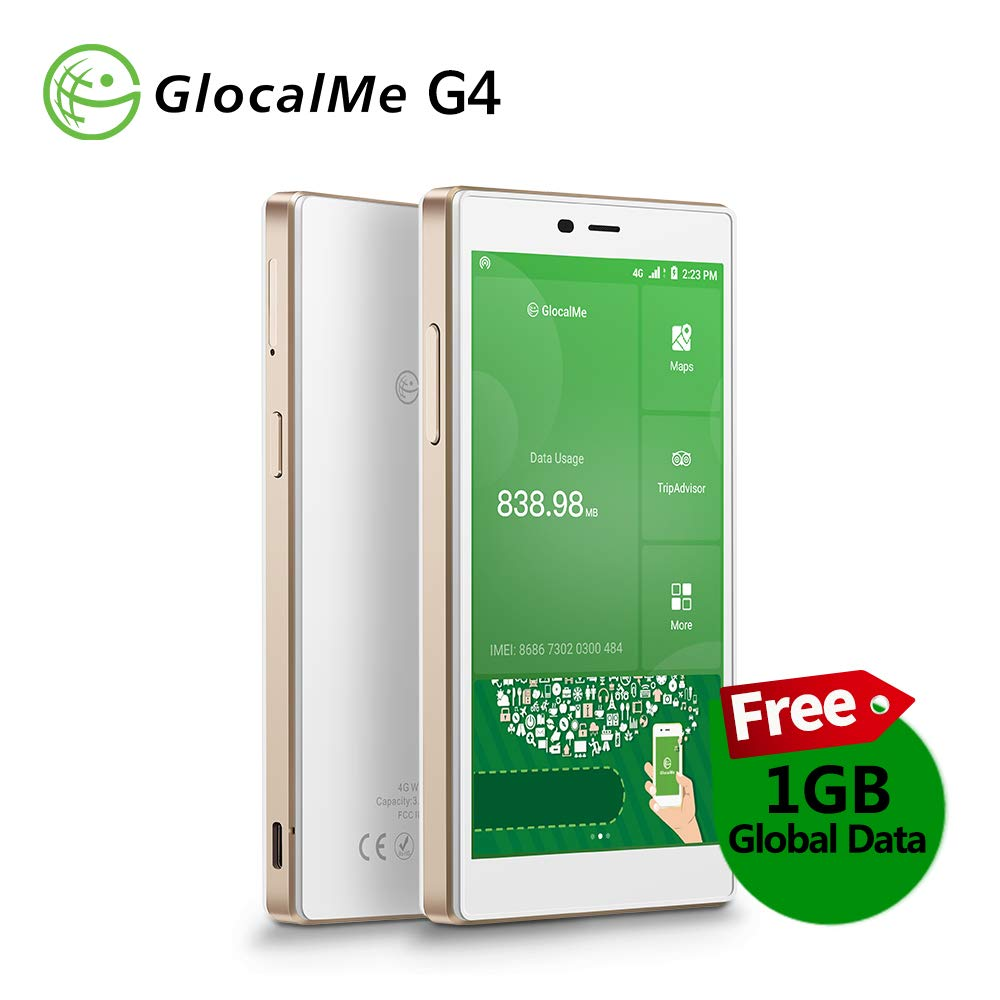 GlocalMe G4 Portable Wifi Hotspot With 1GB Global Data,New Version Multi-Function Worldwide MIFI-White