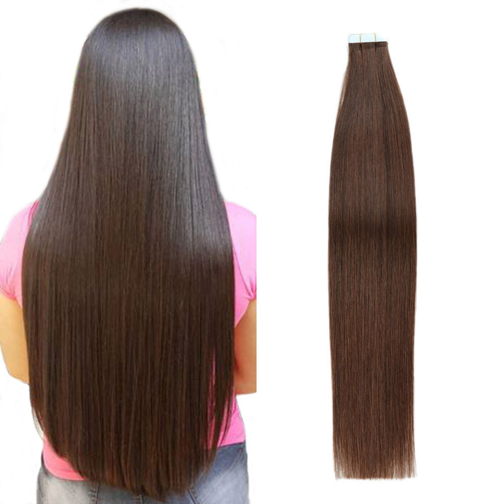 Gazfairy Tape In Remy Human Hair Extension Double Sided 16'' 2.5g/pc Silky Straight Invisible Skin Weft PU Tape On Hairpieces