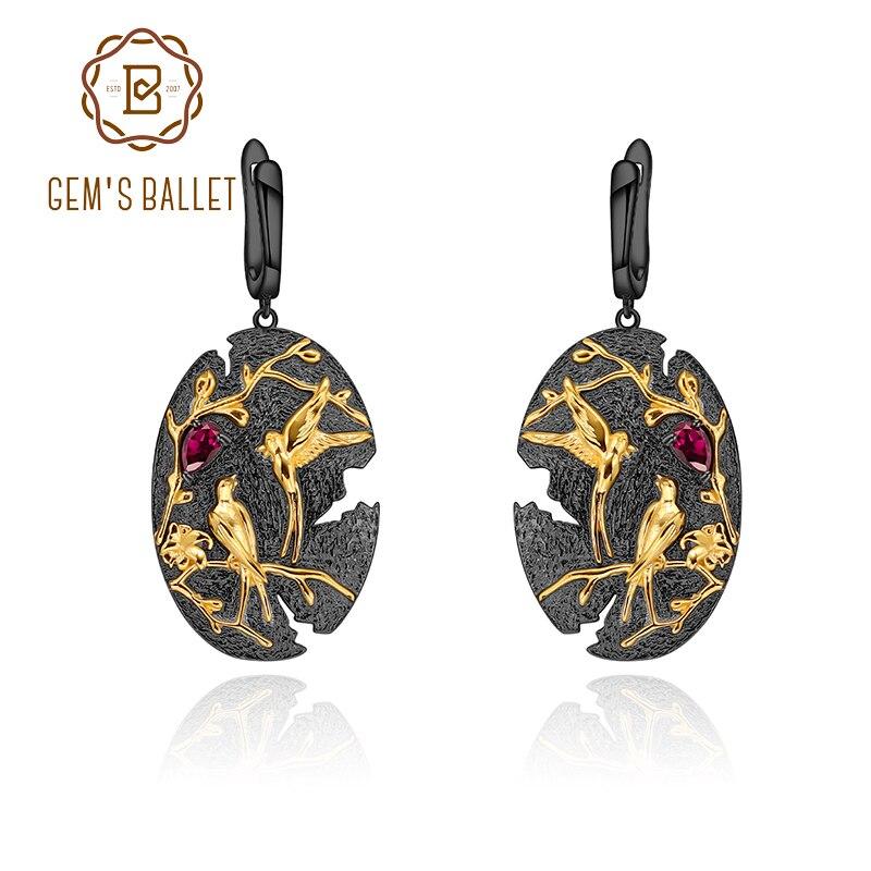 GEM'S BALLET Nature Rhodolite Garnet Woman's Statement Earrings 925 Sterling Silver Handmade Loving Bird Tree Branch Art Jewelry