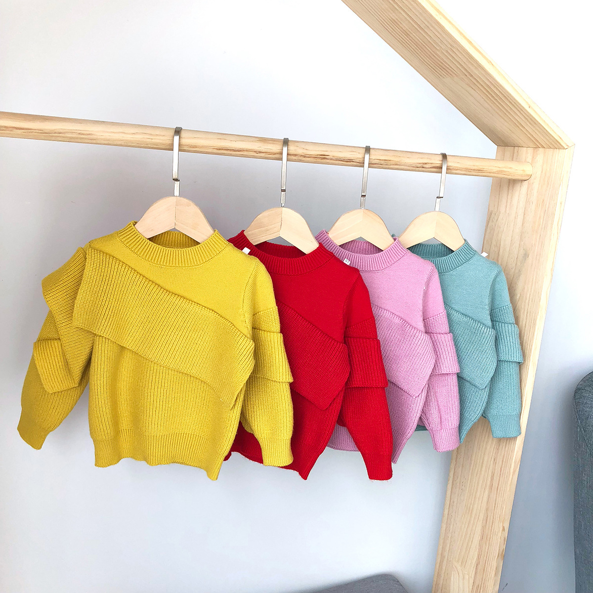 2018 Autumn New Style Kids' Sweater Pullover Korean-style Flounced Sweet GIRL'S Sweater Baby Sweater Bx6002