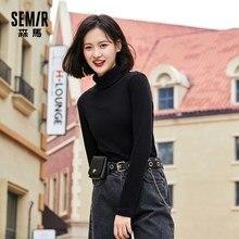 SEMIR – t-shirt à manches longues et col mi-haut pour femme, haut court et assorti, Style occidental, automne et hiver