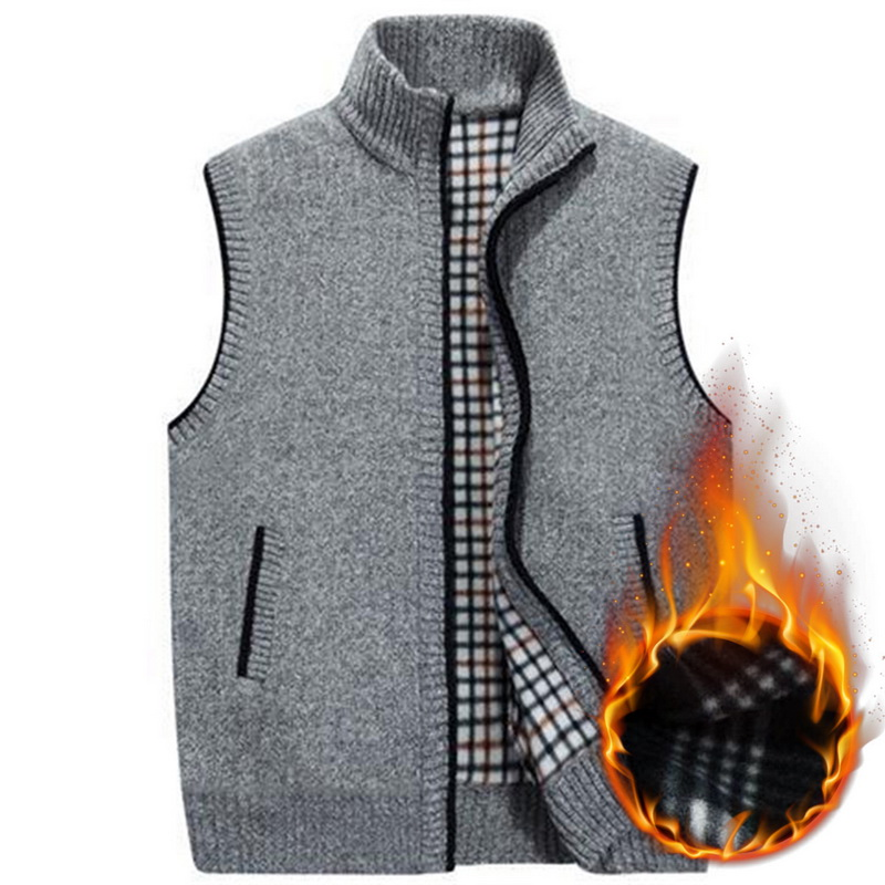 MJARTORIA Knitted Vest Jacket Sweatercoat Winter Mens Sleeveless Warm Fleece New