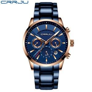 Image 2 - CRRJU رائجة البيع رجال الأعمال ساعة موضة الأزرق كرونوغراف الفولاذ المقاوم للصدأ ساعة اليد عادية مقاوم للماء ساعة relogio masculino