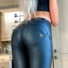 Melody Blue Faux Leather Trousers Wet Leather Pants Legging Ladies Cotton on Leather Pants Hip Butt Shaper Long Leggings