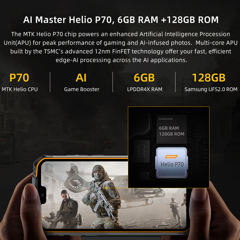 IP68 Waterproof DOOGEE S68 Pro Rugged Phone Helio P70 Octa Core 6GB 128GB Wireless Charge NFC 6300mAh 12V2A Charge 5.9 inch FHD+ 2