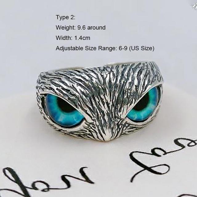 925 STERLING SILVER DEMON EYE OWL RING (2 VARIAN)