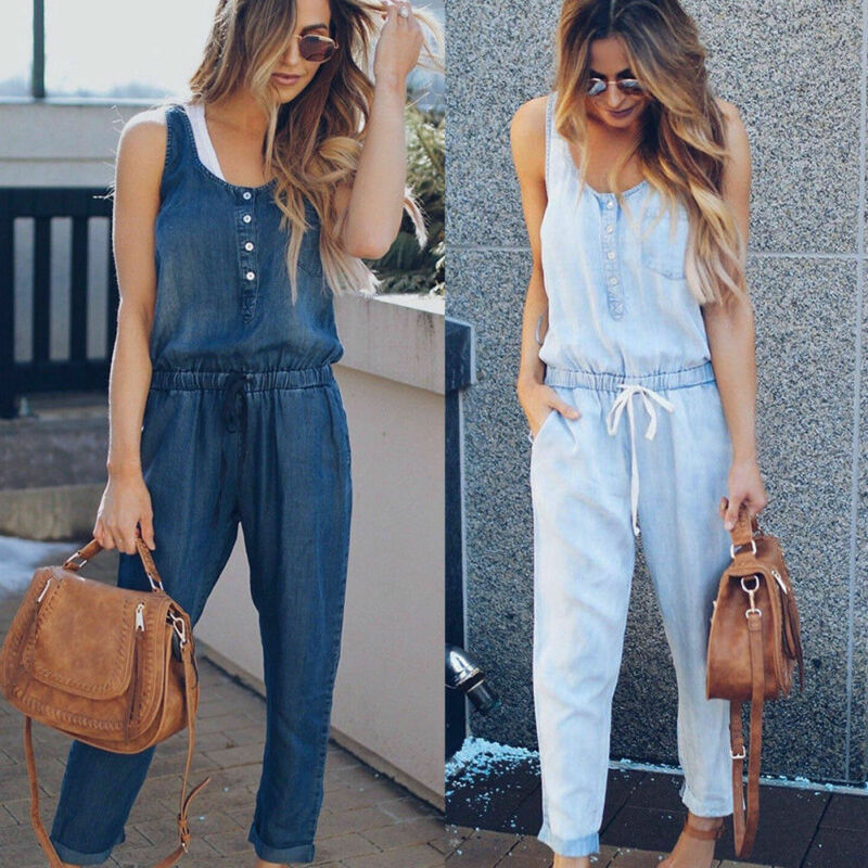 NEW Womens Sexy Summer Denim Jumpsuit Romper Button Loose Overall Playsuit Jumpsuits