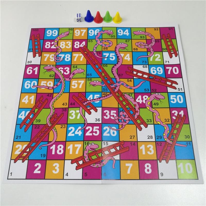 28CM Funny Family Party Games Snake Ladder Flight Chess Set Paper Portable Board Game Toys For Children Kids