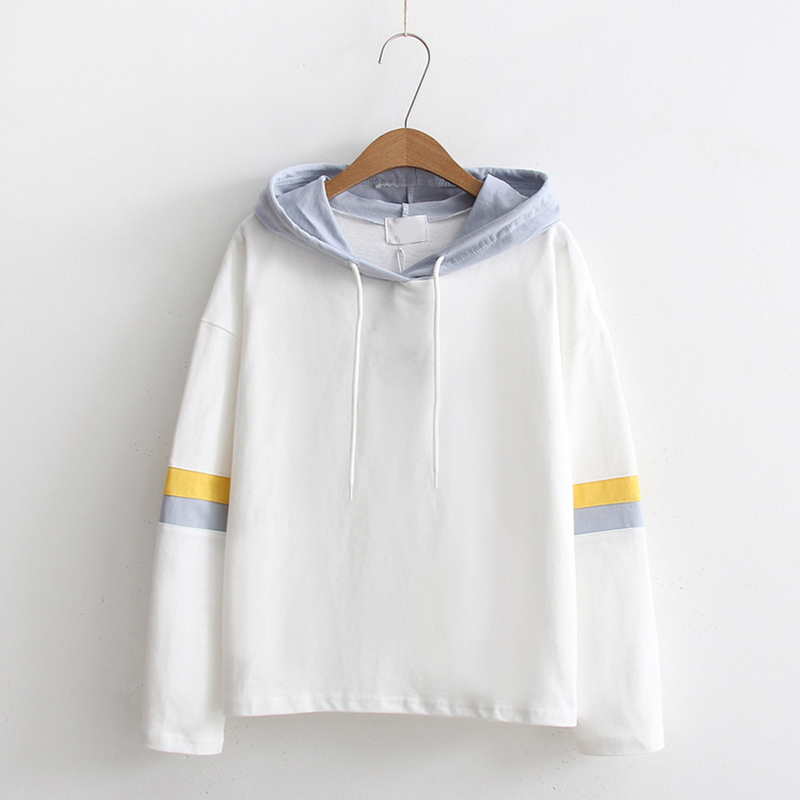 Navy Contrast Panel Drawstring Hoodie Sweatshirt Long Sleeve Pullovers Women Hoodies Autumn Casual Sweatshirts