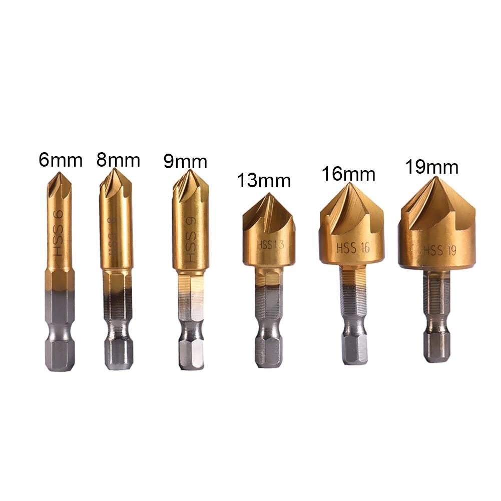 6 Pcs 5 Flute Countersink Drill 1/4'' Hex HSS Shank 90 Degrees Wood Chamferring Cutter Wood Working Repairer 6-19mm Drill Bit