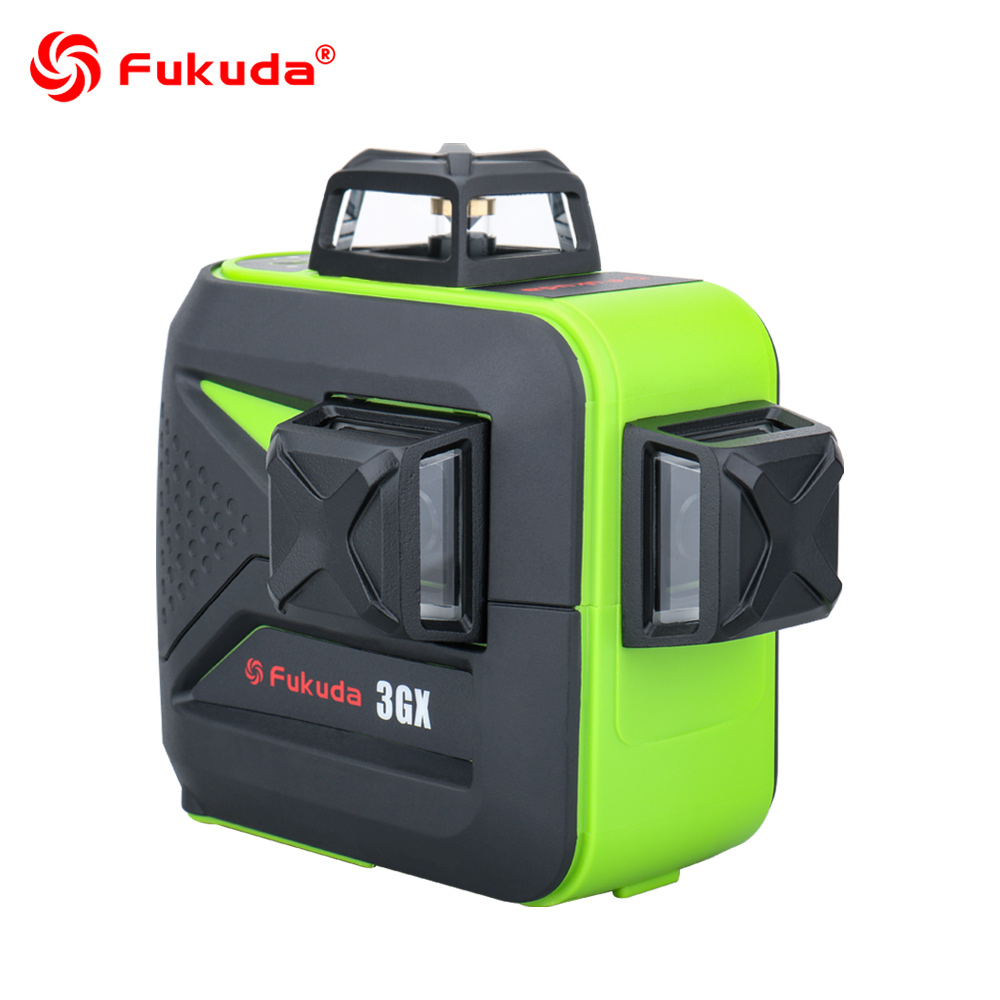 Лазерный уровень Fukuda, 360, 12/16 линий, 3D/4D, ротационный зеленый луч, самонивелирующийся, горизонтальные, вертикальные, перекрестные лазерные ли...