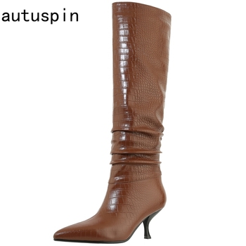 karinluna 2018 plus size 33 45 genuine cow leather boots women shoes square high heels best quality knee high boots shoes woman autuspin Pleated Slim-legged Women Boots Winter Fashion Genuine Cow Leather Pointed Toe Party Wedding High Heels Woman Shoes