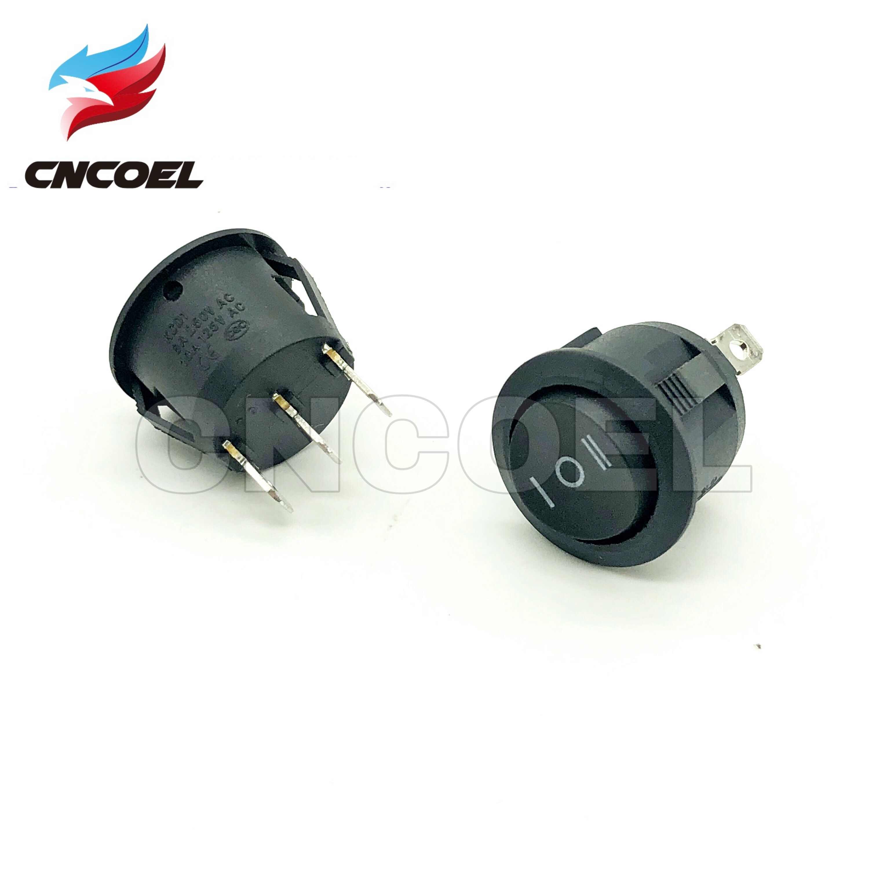 2 pcs/lot KCD1 interrupteur à bascule bateau ON-OFF-ON noir 3 positions SPDT enfichable 3 broches interrupteur rond 10A/125V 6A/250V AC