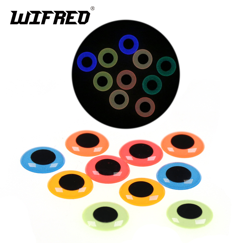 Wifreo 50pcs/pack Glow in the Dark 3D Fish Eyes Luminous Fishing Line Lure Eyes Sea Fishing Jig Eyes Fly Tying Material