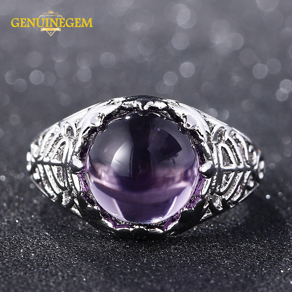 Jewepisode Top Quality Round Amethyst Crystal Silver 925 Jewelry Rings For Women 100% Sterling Silver Genstone Jewelry Ring