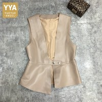2020 New Designer Natural Leather Vest Women Street Short Sheepskin Waistcoat Fashion Slim V Neck Female Sleeveless Jacket