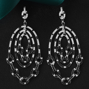 Image 4 - GODKI 2020 Luxury Trendy Link Chain Long Drop Earrings Cubic Zircon Earrings For Women Drop Earrings Brincos Fashion Jewelry
