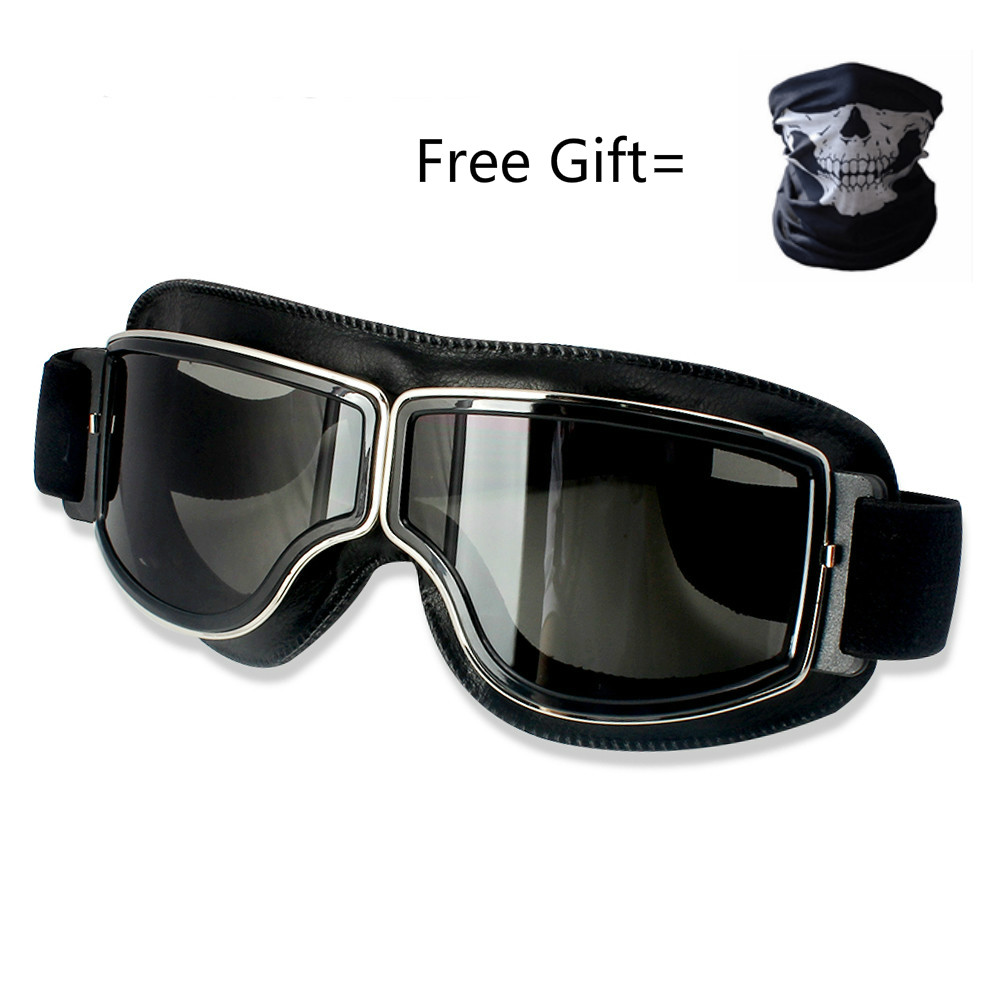 motorcycle goggles PU leaher  mask glasses skiing snow men women Adjustable color lens