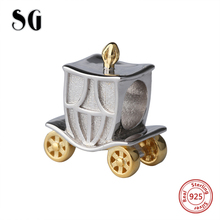 SG 925 Sterling Silver antique Beads pumpkin carriage with golden wheel Charm Fit Original pandora Bracelet Jewelry making Gift