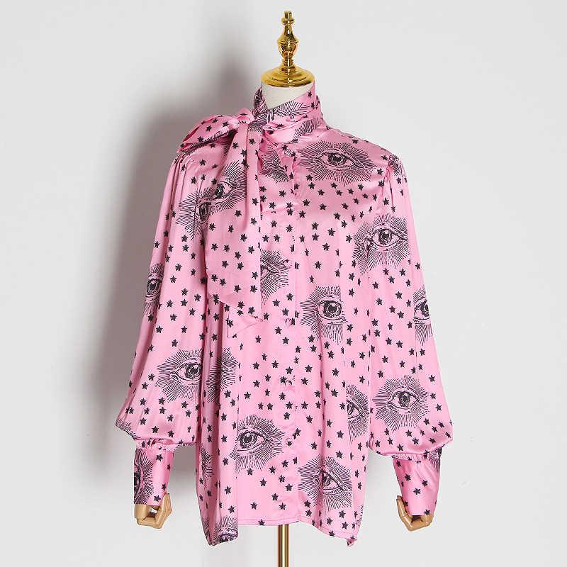 GALCAUR coreano estampado Hit Color blusa mujer linterna manga arco cuello grande tamaño encaje hasta camisa mujer 2020 moda nueva ropa
