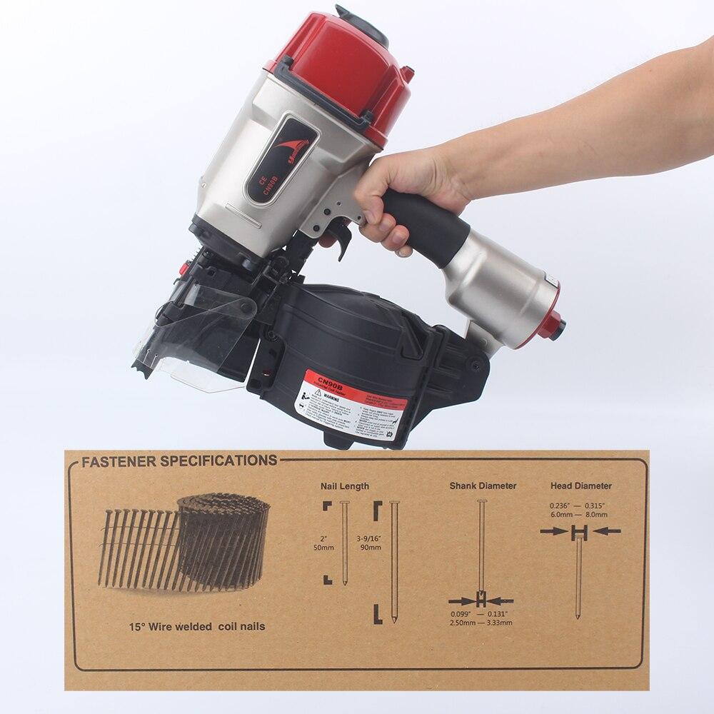YOUSAILING Gun Pneumatic Efficient Depth Roll Light Making Industrial Nail Nailer Nail For CN90B Quality Adjustable Pallet Coil
