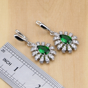 Image 4 - 925 Silver Jewelry Green Cubic Zirconia White Crystal Jewelry Sets For Women Earrings/Pendant/Necklace/Rings/Bracelet