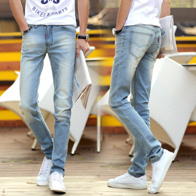 Light Color Jeans Men's Straight-Cut Autumn And Winter Korean-style Slim Fit Faded Teenager Elasticity Dark Blue Long Pants 2268