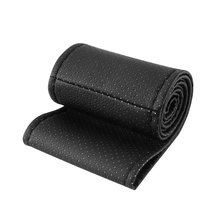 Universal PU Leather Car Auto Steering Wheel Cover With Needles And Thread Breathability Skid-Proof Vehicle Cover