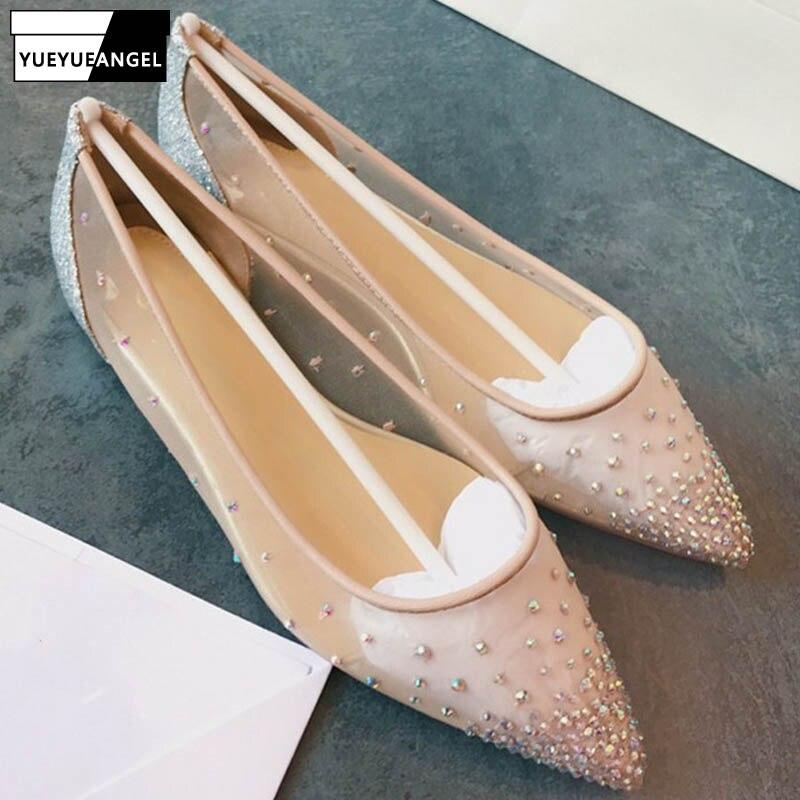 Bombas de malla de calidad superior de cuero genuino para mujer Zapatos de tacón alto de punta estrecha transparente zapatos de boda