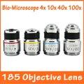 4X 10X 40X 100X 4 stücke Optische Biologische Mikroskop L = 185 Achromatische Präzision Kupfer Ziel Objektiv mit gewinde mouning 20 14mm-in Mikroskopteile und -zubehör aus Werkzeug bei