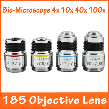 4X 10X 40X 100X 4pcs Optical Biological Microscope L=185 Achromatic Precision Copper Objective Lens with thread mouning 20.14mm