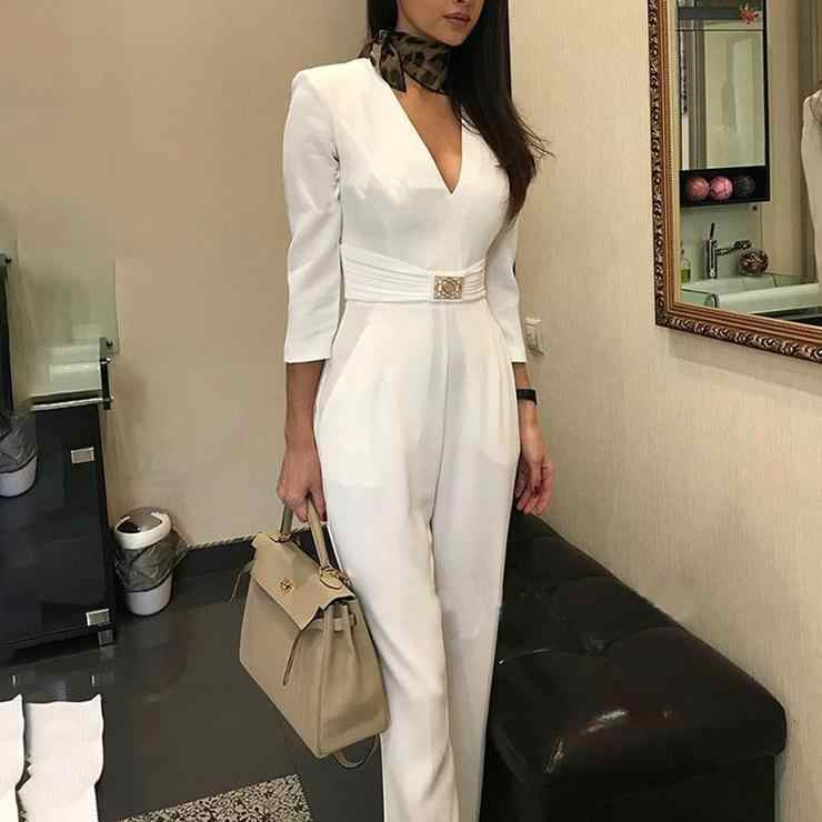 Joyfunear elegante Mono Blanco para mujer mono de manga larga para mujer 2019 Casual verano ropa general
