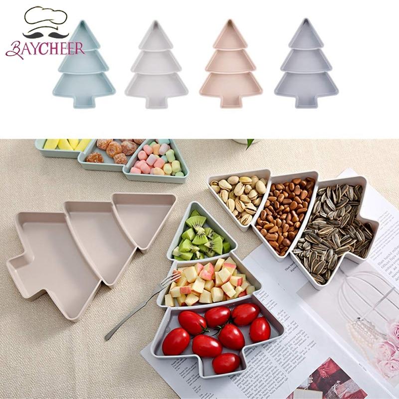 Купить с кэшбэком Christmas Tree Shaped Candy Snacks Nuts Seeds Dry Fruits Plastic Plates Dishes Bowl Breakfast Tray Household Kitchen Supplies