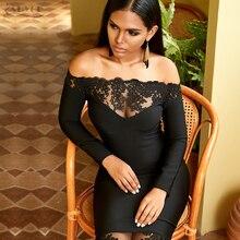 Adyce 2019 Phụ Nữ Mới Băng Đô Đầm Lưới Hoa Vestidos Đen Chém Cổ Người Nổi Tiếng Đầm Dự Tiệc Sang Trọng Ôm Vai Ren Ôm Body Câu Lạc Bộ Đầm