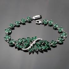 925 Sterling Zilver 18 Cm Dames Handgemaakte Dark Groene Edelstenen Armbanden Sliver 925 Sieraden Voor Vrouwen Gratis Gift Box